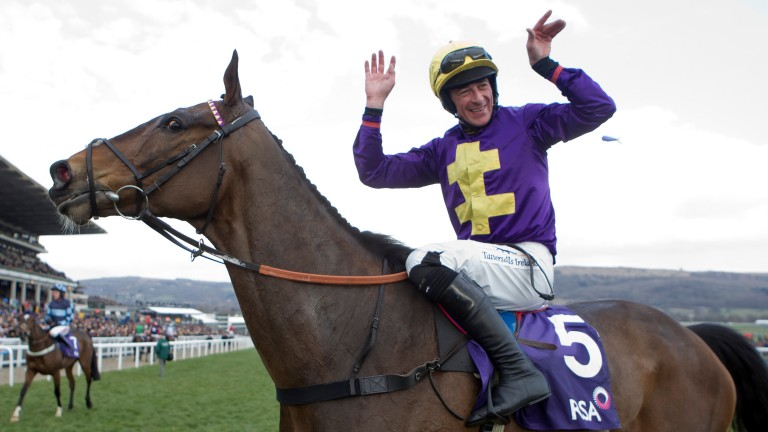 Davy Russell celebrates in 2013 after winning the festival's main prize for staying chasers – then called the RSA Chase and now run under the Brown Advisory banner – aboard future Gold Cup hero Lord Windermere