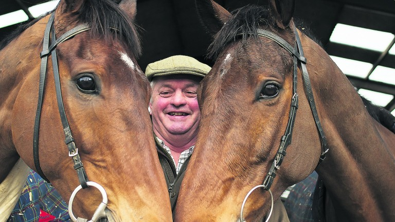 Colin Tizzard with his King George contenders Cue Card (left) and Thistlecrack