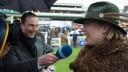 Kerry Lee sports the lucky green hat and 'bear coat' at Chepstow