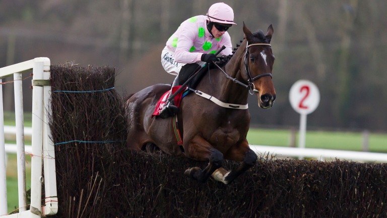 Douvan skips over the second-last fence in the Hilly Way Chase at Cork