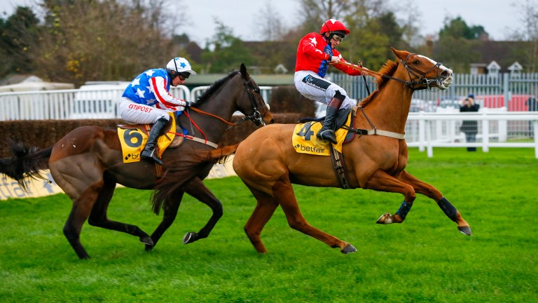 Sire De Grugy on his way to winning the 2015 Tingle Creek Trophy after colliding with Special Tiara at the final fence