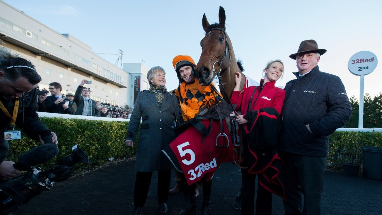 Thistlecrack'€™s connections, with Colin Tizzard right, celebrate their big-race victory