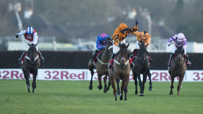 Christmas cracker: Tom Scudamore celebrates as Thistlecrack powers up the run-in to blitz his rivals in the King George at Kempton