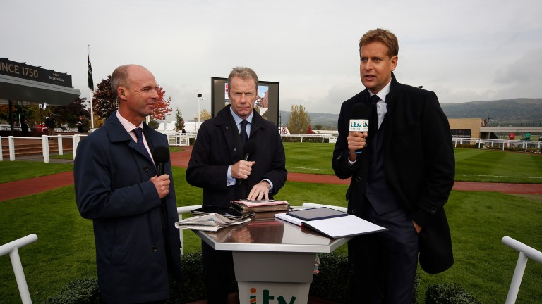 Ed Chamberlin with his co-stars Luke Harvey (left) and Mick Fitzgerald (centre) during an ITV trial run at Cheltenham last year