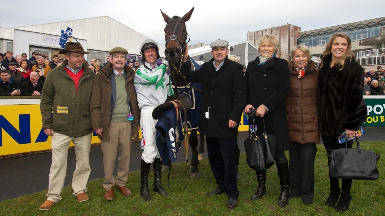 Connections pose for the camera after Our Duke's Grade 1 Neville Hotels Novice Chase victory