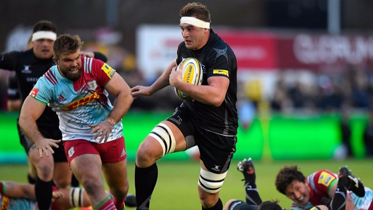 Newcastle lock Will Witty on the charge against Harlequins