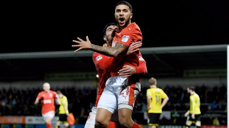 Huddersfield's Nahki Wells celebrates against Burton