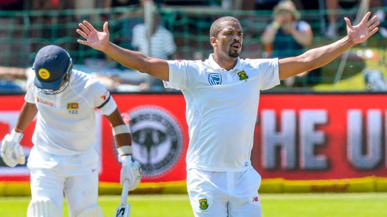 Vernon Philander appeals for a Sri Lanka wicket in Port Elizabeth