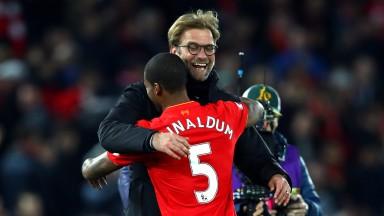 Liverpool manager Jurgen Klopp congratulates Georginio Wijnaldum after their 1-0 win over Manchester City