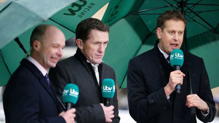 Luke Harvey (left, with Tony McCoy and Ed Chamberlin) will present the ATR coverage