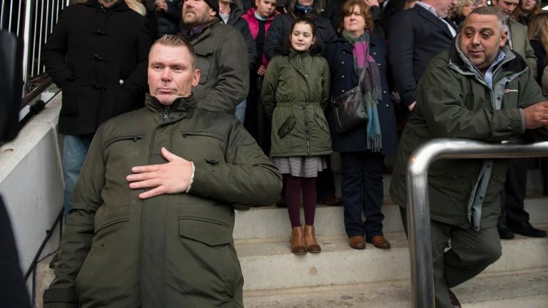 Matt Chapman rubs his stomach to camera during ITV Racing's Cheltenham launch programme