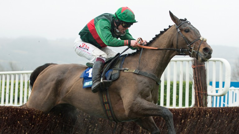 Tour Des Champs (Robbie Dunne) on the way to giving young trainer Sam Drinkwater a memorable Cheltenham victory