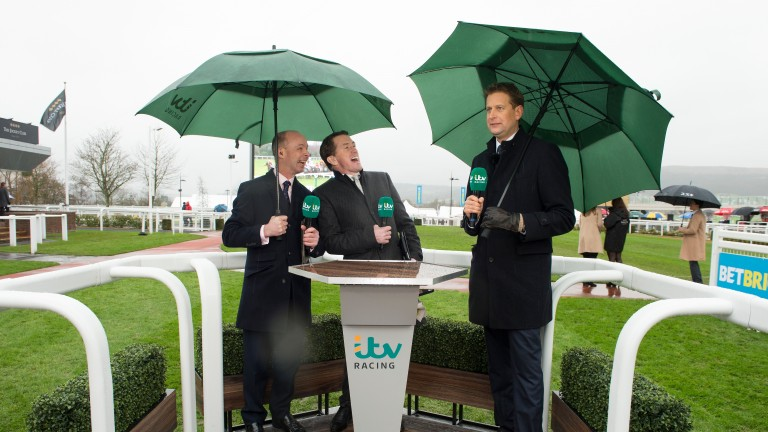 Ed Chamberlin (right) was on duty with Sir Anthony McCoy (centre) and Luke Harvey