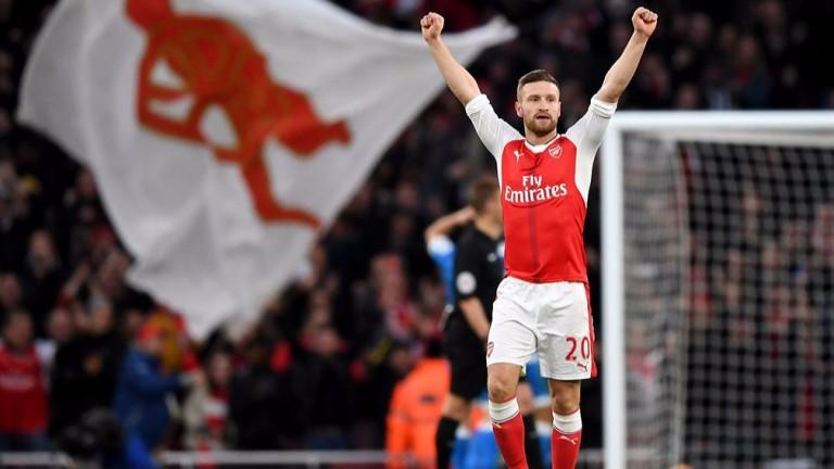 Shkodran Mustafi celebrates an Arsenal win