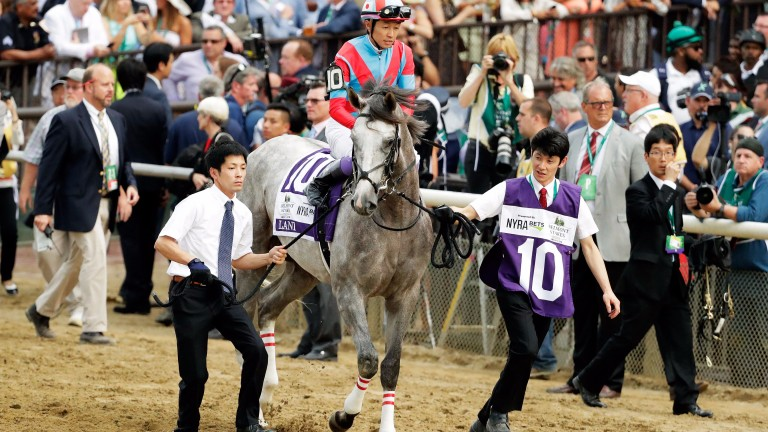 Japanese challenger Lani and Yutaka Take being led out for the 2016 Belmont Stakes