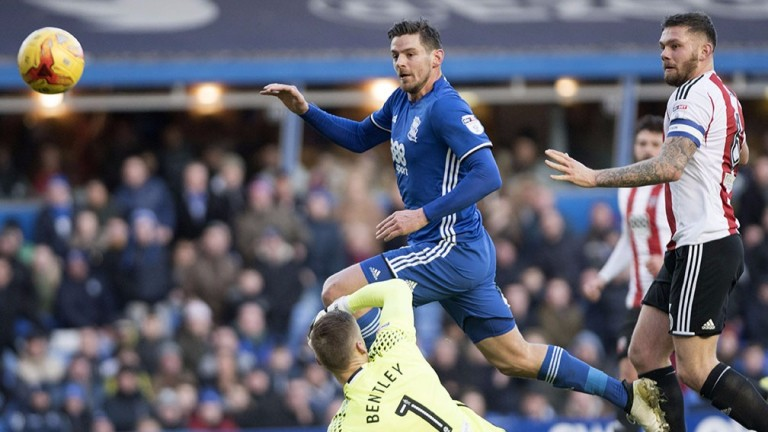 Lukas Jutkiewicz scores for Birmingham in last week's Sky Bet Championship clash with Brentford which the Blues lost 3-1