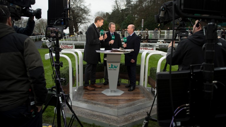 The ITV presentation team of Ed Chamberlin, Mick Fitzgerald and Luke Harvey on duty at Sandown