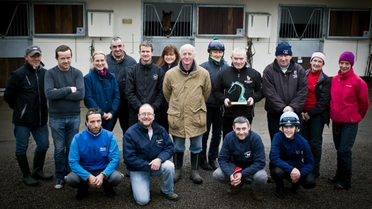 John Oxx and his staff with last year's winner James 'Slim' Neill at the launch of the Godolphin Stud and Stable Staff Awards