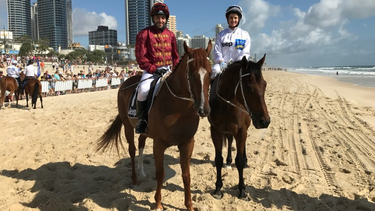 Gold Coast: Sheikh Fahad Al Thani and Michelle Payne before the barrier trial