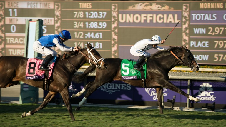 Tourist (Joel Rosario) holds defending champion Tepin in the Breeders' Cup Mile at Santa Anita