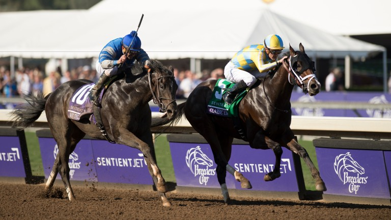 Classic Empire (Julien Leparoux, right) holds Not This Time to claim the Breeders' Cup Juvenile; the winner is ante-post favourite for the Kentucky Derby