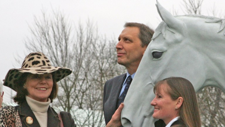 Richard Burridge with the statue of his jumps legend Desert Orchid at Kempton