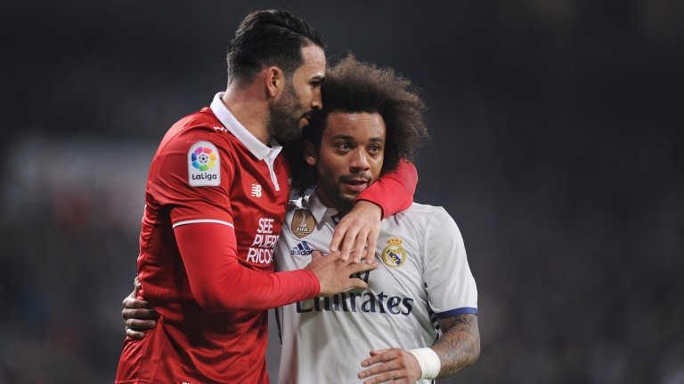 Adil Rami (left) and Marcelo share a moment during the Copa del Rey last week