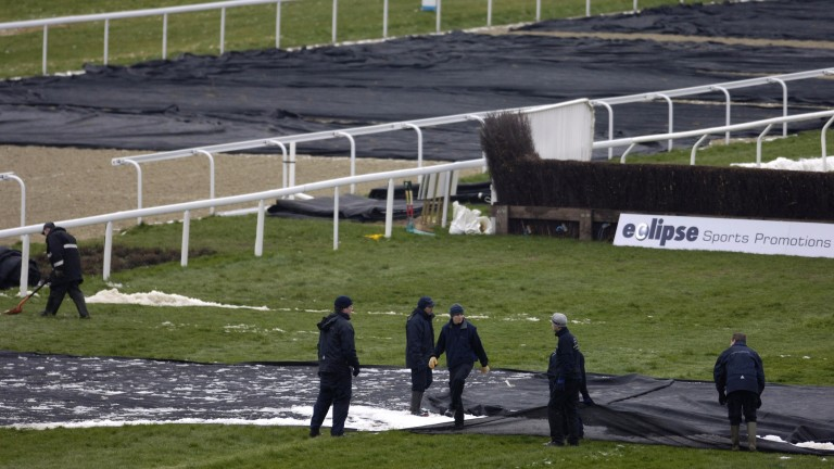 Frost covers at Kempton, where clerk of the course Barney Clifford doesn't anticipate any problems for racing on Saturday