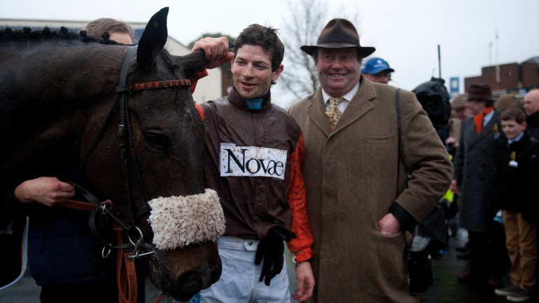 Nicky Henderson at Kempton with Long Run and Sam Waley-Cohen after winning the King George in 2012. The trainer has issued a rallying call in defence of the track