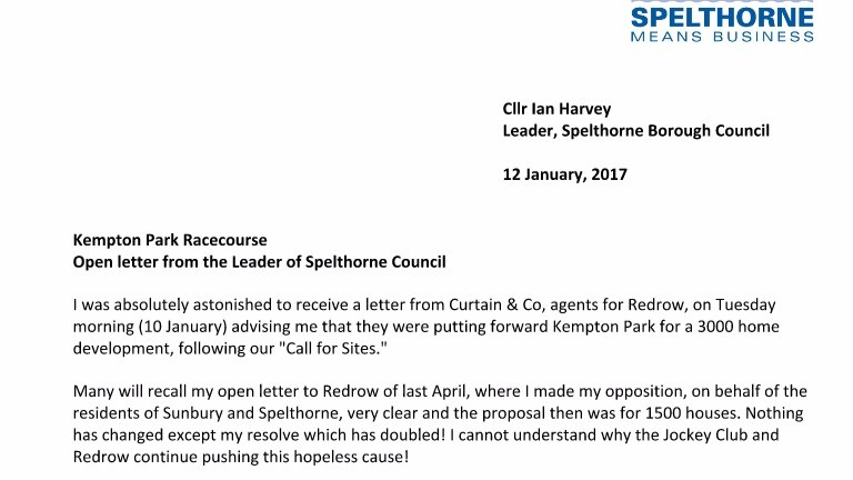 The open letter penned by Spelthorne Borough Council leader Ian Harvey