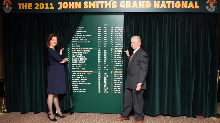 Brian Fletcher (right) helps to unveil the weights for the 2011 Grand National