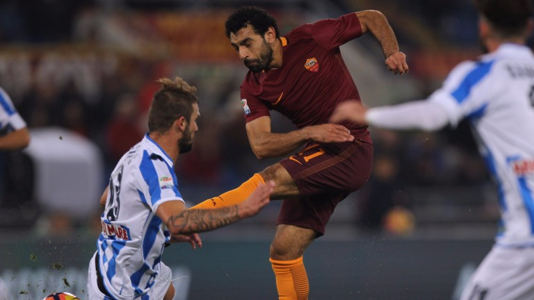 Egyptian striker Mohamed Salah shoots at goal for Roma