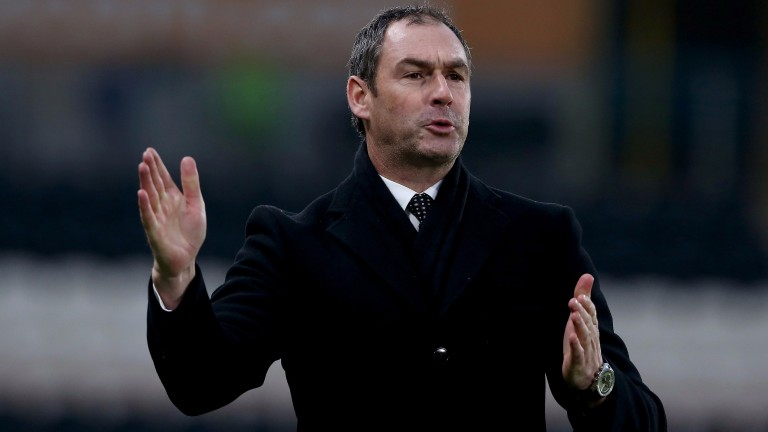 Paul Clement reacts to a Swansea chance at Hull in the FA Cup