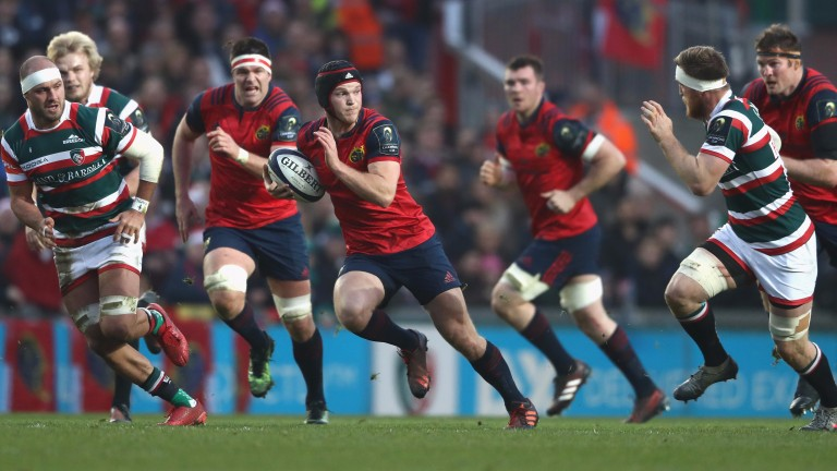 Tyler Bleyendaal (making the break) is at the controls for Munster