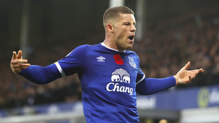 Everton's Ross Barkley celebrates scoring against West Ham
