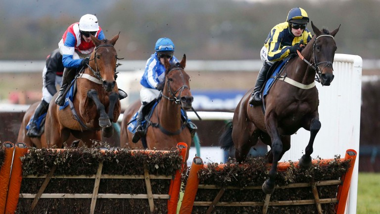 Willoughby Court (right): made all under David Bass in the Grade 2 novice hurdle