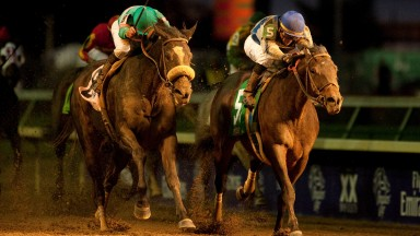 Zenyatta (left) forfeits her unbeaten record to Blame on the final start of her career in the Breeders' Cup Classic at Churchill Downs in 2010