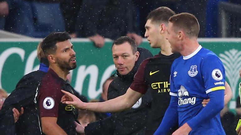 Tempers flare during Manchester City's defeat to Everton on Sunday
