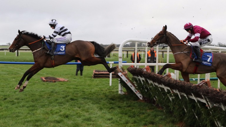 Ex Patriot (Rachael Blackmore) jumps the last to win the 2m maiden hurdle from Mengli Khan