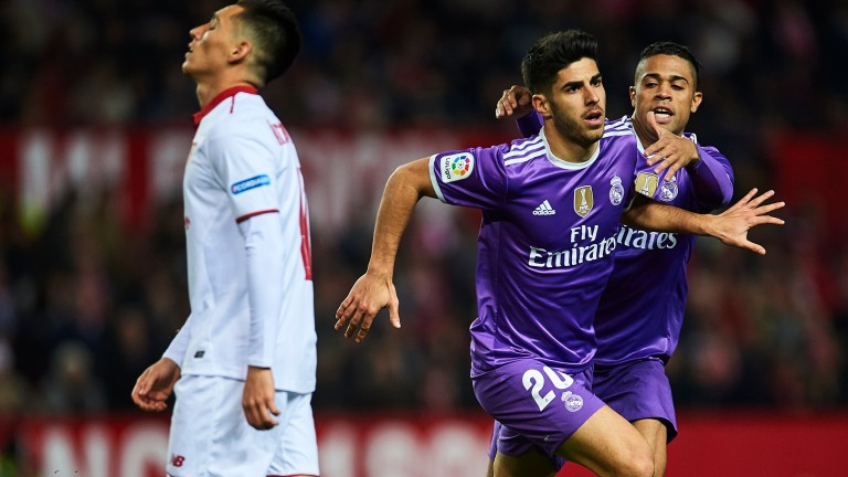 Marco Asensio celebrates his Copa del Rey goal against Seville