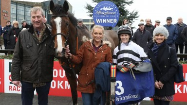 Ellmarie Holden (second left) with Ex Patriot after his winning debut over hurdles
