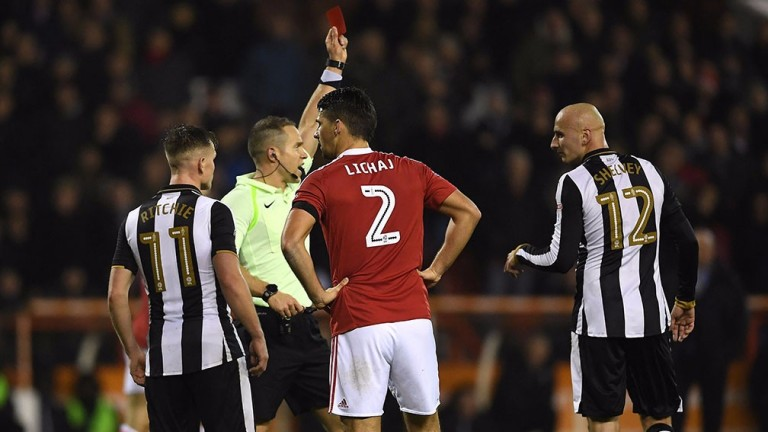 Jonjo Shelvey is given his marching orders at the City Ground