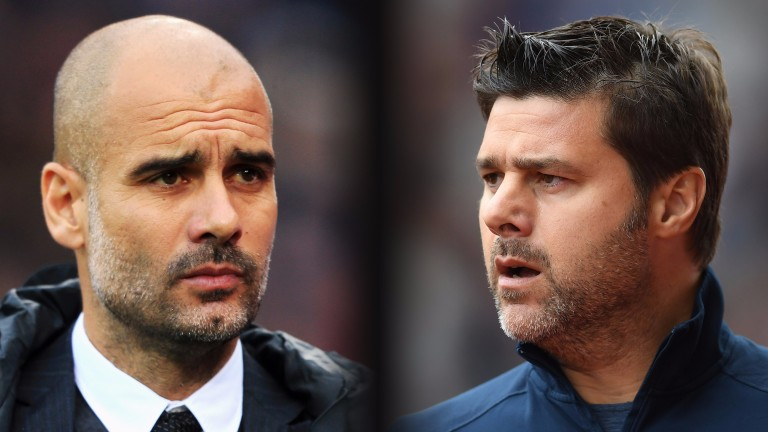 Pep Guardiola (left) and Mauricio Pochettino clash at the Etihad on Saturday