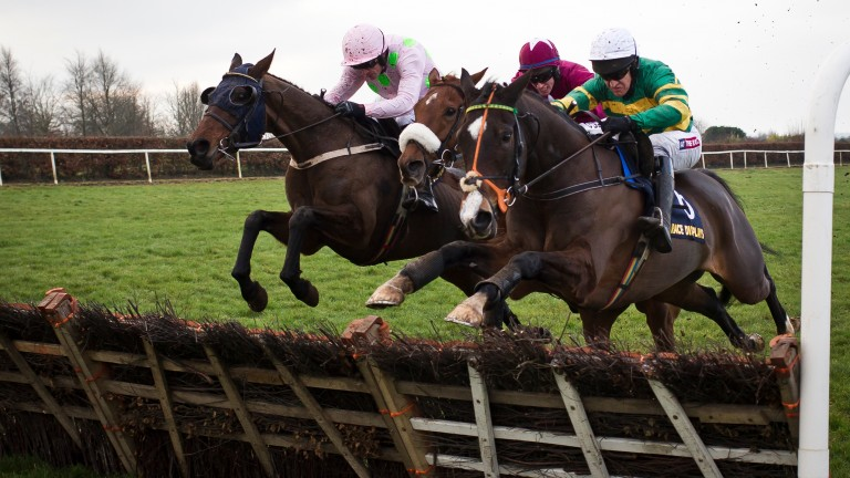 Jezki (right) makes a winning reappearance at Navan on Saturday under Barry Geraghty