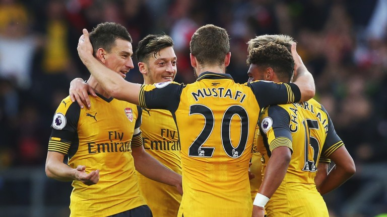 Arsenal celebrate their 1-0 win over Burnley at Turf Moor in October