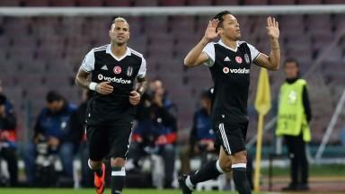 Adriano (right) celebrates a Besiktas goal