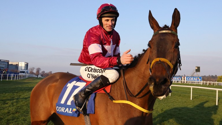 Ice Cold Soul and Sean Flanagan after victory in the Coral.ie Hurdle