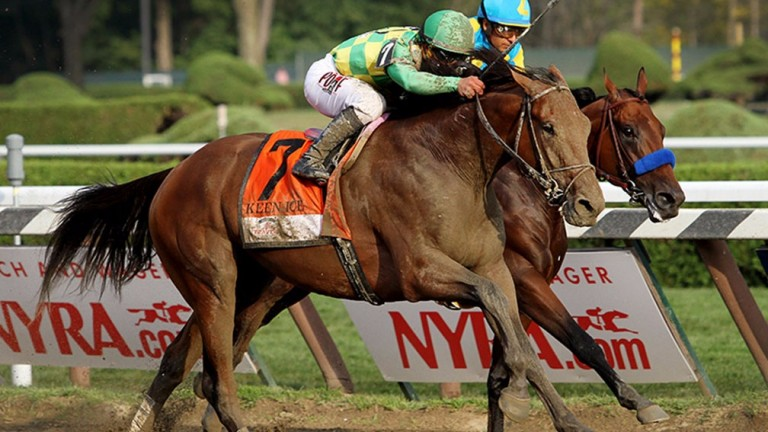 Keen Ice (green cap): beats Triple Crown hero American Pharoah in the Travers Stakes