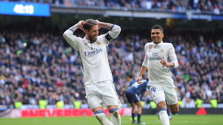 Sergio Ramos scored twice for Real Madrid against Malaga