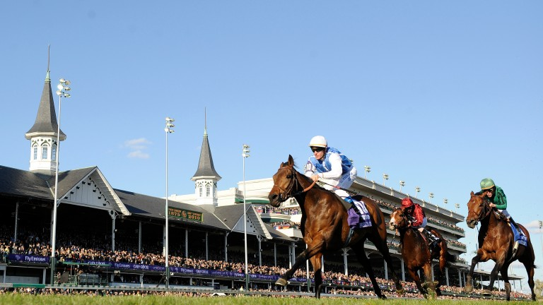 Goldikova, half-sister to Sunday's Chantilly winner Gold Luck, wins her third Breeders' Cup Mile